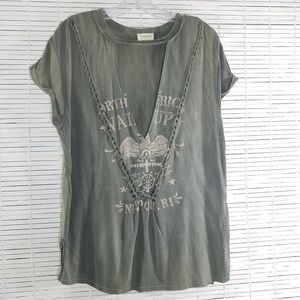 Emory Park T-shirt Olive Green Distressed  NWOT S